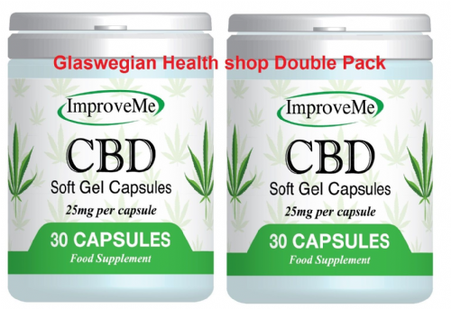 CBD Oil 25mg in each Capsule - 30s x 2 = 60 capsules (Improve Me) Hemp/Cannabis + Free Delivery